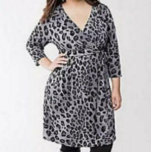LaneBryant Black and Grey Leopard Print Wrap Dress